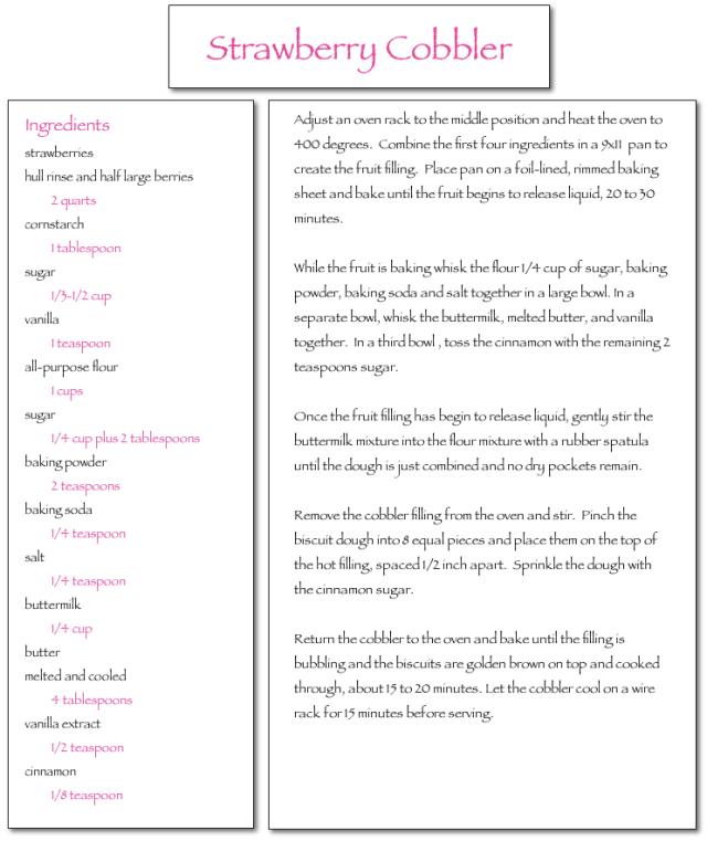 Strawberry Cobbler Recipe…lalovesblog